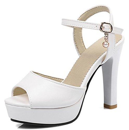 Aisun Bride Plateforme Sandales Arrière Spécial Blanc wYq1CZw