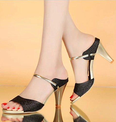 Minetom Damen Sommer High Heel Glänzend Sandalen Römischen Stil Offener Zeh Zehentrenner Slide Dress Sandals Schwarz