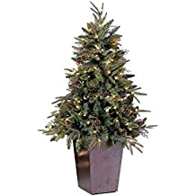 GKI Bethlehem Lighting Potted Pre-Lit Green River Spruce Medium Artificial Christmas Tree with Clear Lights, 5'