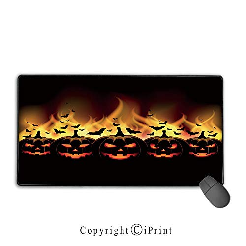 Extended gaming mouse pad with stitched edges,Vintage Halloween,Happy Halloween Image with Jack o Lanterns on Fire with Bats Holiday Decorative,Black Scarlet,Suitable for laptops, computers, PCs, keyb -