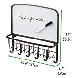 mDesign Metal Wall Mount Entryway Storage Organizer Mail Basket with Dry Erase Board, 6 Hooks - Holder for Letters, Magazines, Keys, Coats, Leashes - Strong Steel Wire Design - Bronze