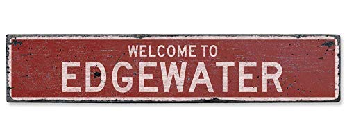 HarrodxBOX Welcome to Edgewater Vintage US Edgewater, Wisconsin Distressed Custom City Sign Novelty Aluminum Metal Tin Sign Post Wall Decoration for Men
