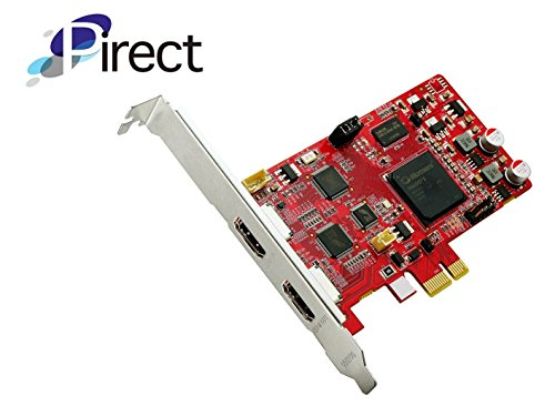 Pirect Uldra-P2 Video Capture card, stream and record in 1080p30, Ultra low latency preview, H.264/AVI software encoding, PCI-Express x1, with HDMI bypass output