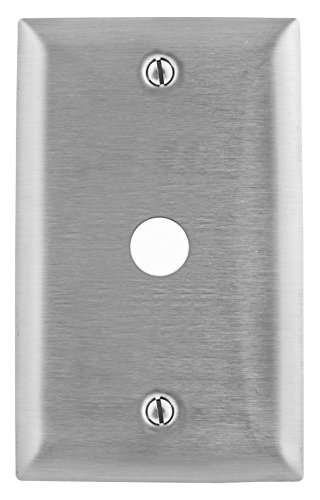 Bryant Electric SS11 1-Gang, 1-Telephone Hole, Box Mount, Standard Size 302/304 Stainless Steel Wallplate, 406