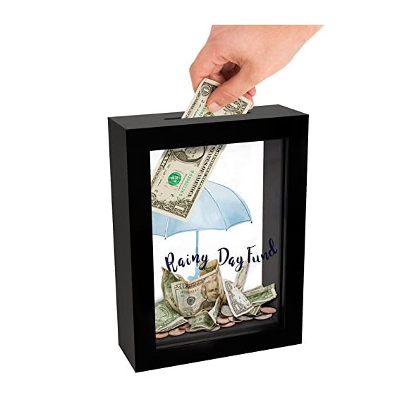 "Americanflat Rainy Day Fund Decorative Shadow Box Frame, Glass Sized 5x7 Inches - Design: Black 5x7 inch shadow box frame with ""Rainy Day Fund"" printed on the glass front and a slot in the top for coins and dollar bills; comes with hanging hardware for hassle-free display in both horizontal and vertical formats to hang flat against the wall; can be displayed on desktop, tabletop or a mantel Material: Wood shadow box frame with a polished glass front that reads ""Rainy Day Fund""; preserves your spare change and bills as you save up for something special Quality: Durable shadow box frame with a clear glass front; save your coins and dollar bills easily, quickly and securely - picture-frames, bedroom-decor, bedroom - 416CsOT80PL. SS570  -"