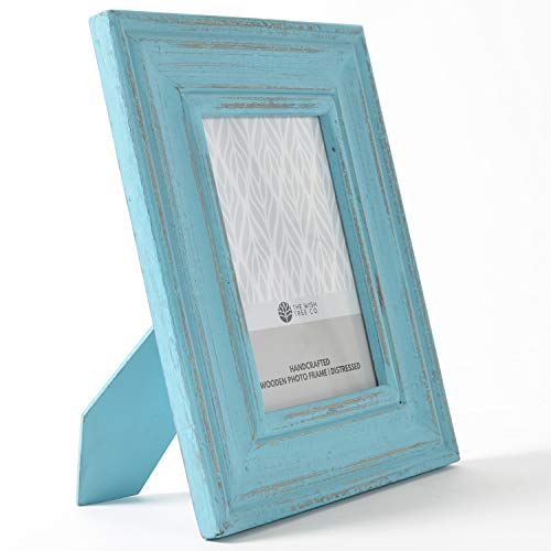 The Wish Tree Co.. (Turquoise Blue, 5x7 Distressed Finish Natural Rustic Wood Photo Frame with Easel, Non Rust Clips, Table Top, Glass Front, for Bedroom, Desk, Living Room