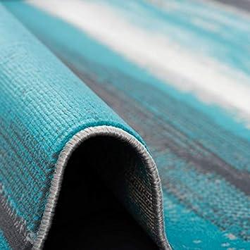 Tapis de Designer Pergamon Samba 5 Tailles Gris Turquoise Rayures