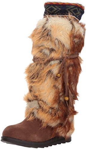 MUK LUKS Women's Leela Boots Fashion, Dark Brown, 10 W US