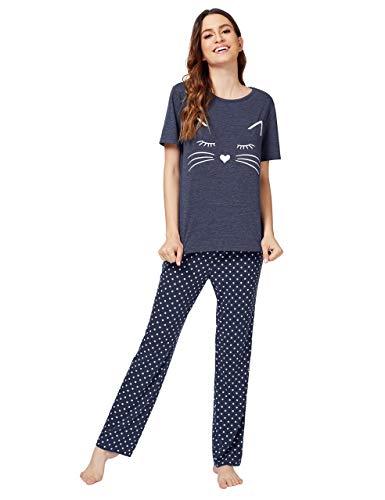 DIDK Women's Kitty Cat Print Tee Polka Dot Pants Pajama Set Navy S ()