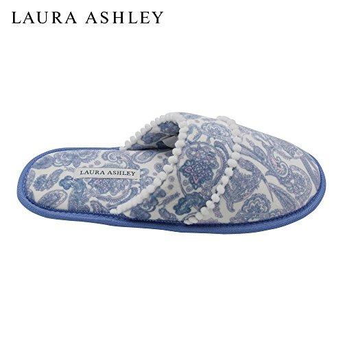Paisley Pom Foam Printed amp; Sole Trim Scuff Ashley Slippers Blue Ladies Memory Scuff Laura 47aHXzqn