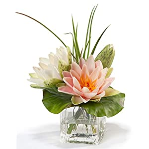 Lotus Blossom & Lily Pad Silk Flower Arrangement 87