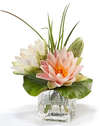Lotus Blossom & Lily Pad Silk Flower Arrangement (Water Silk Lilies)