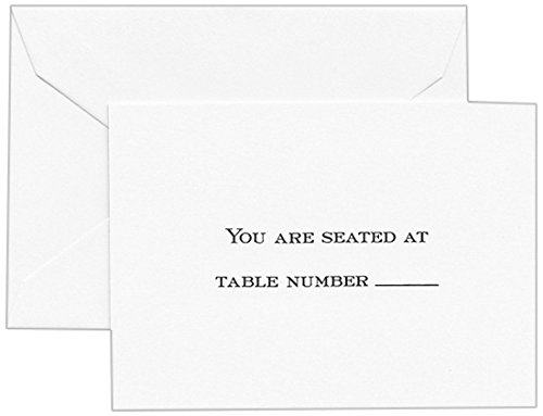 Crane & Co. Hand Engraved Block Text Pearl White Table Card (CC0450)