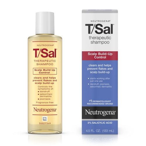 Neutrogena T/Sal Therapeutic Shampoo for Scalp Build-Up Control with Salicylic Acid, Scalp Treatment for Dandruff, Scalp Psoriasis & Seborrheic Dermatitis Relief, 4.5 fl. oz (Pack of 2)