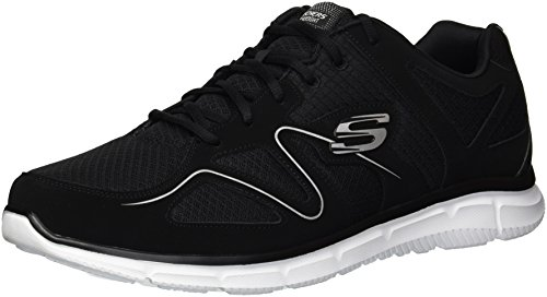 Skechers Sport Men's Satisfaction Flash Point Oxford,Black/White,9.5 M US (Best Skechers Running Shoes)