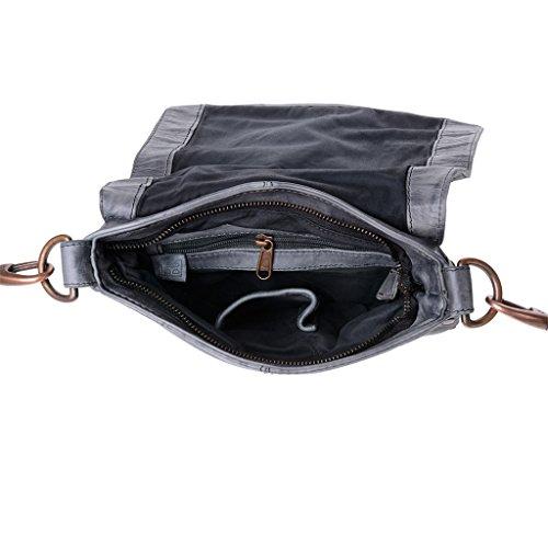 Washed Bag With Bandolier Man Studs Slate A Black And Skin Flap Dudu 5pfqnH
