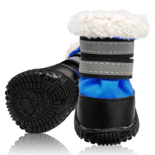 FidgetGear Waterproof Anti-Slip Dog shoes Thick Fleece Warm Padded Rain Boots Reflective bluee  5