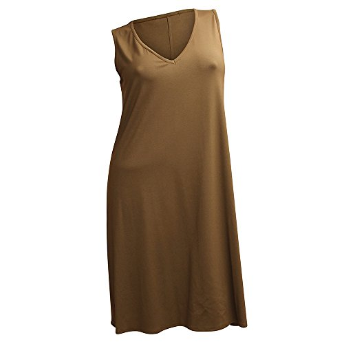 Ärmellos Oliv RICK Linie Ausschnitt CAROLIN V Damen A Kleid qT8dvBn0x