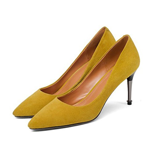 Women's Ladies Elegant Suede High Heels Shoes Pointed Toe Shallow Office Work Heels Dress Pumps Court Shoes (Yellow, Black
