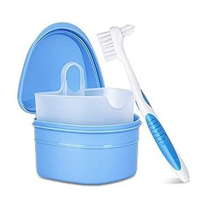Y-Kelin Kit de limpieza de dentaduras postizas con cepillo de dientes postizos de dos cabezas (Azul) 4