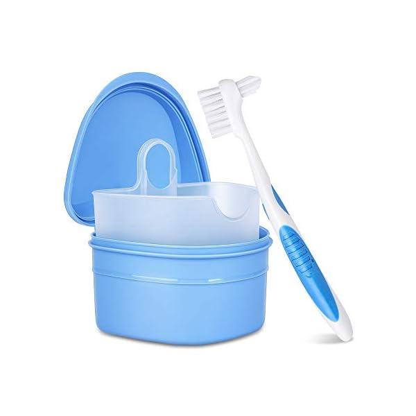 Y-Kelin Kit de limpieza de dentaduras postizas con cepillo de dientes postizos de dos cabezas (Azul) 2