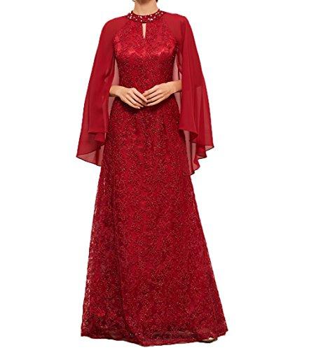 Festlichkleider Partykleider Ballkleider Damen Stola Brautmutterkleider Spitze Rot Chiffon Langes Charmant mit Abendkleider q064xY1nw