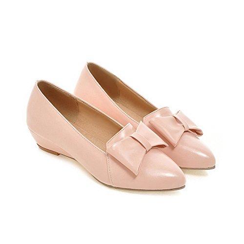 Amoonyfashion Donna A Punta Chiusa Tacco Basso Solido Tira Su Pompe-scarpe Rosa