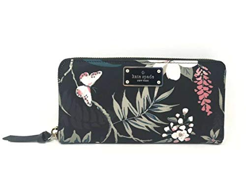 Kate Spade Wilson Road Botanical Floral Neda Nylon Black Wallet WLRU5302