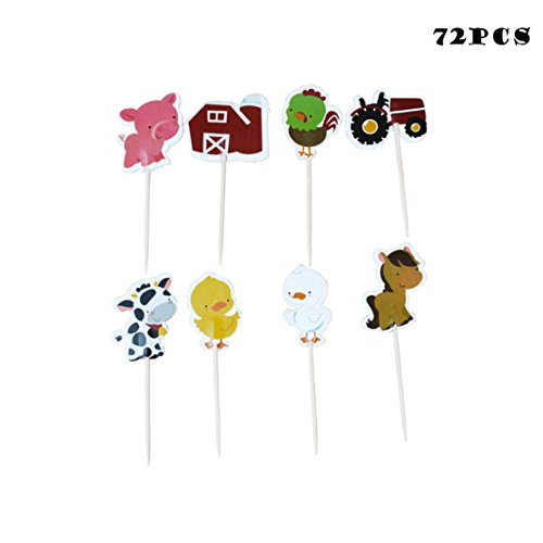 72PCS Acmer Farm Animals Cupcakes,Appetizer Decorations Toppers Picks,Cow,Chickens,ducklings,pigs,horses,tractors