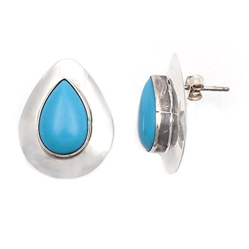 Drop .925 Starling Silver Certified Authentic Handmade Navajo Native American Natural Turquoise Earrings