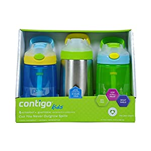 Contigo 14oz Gizmo Sip & Flip Kids Water Bottles, 3 Pack (Beach Blue, Chartreuse, Lemon Zest)