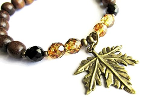 - Dark Brown Robles Wood and Mottled Amber Czech Glass Leaf Charm Stretch Hippie Boho Bracelet for Women