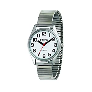 Ravel – Unisex Super Bold Sight Aid Watch with Big Numbers on Stainless Steel Expander Bracelet