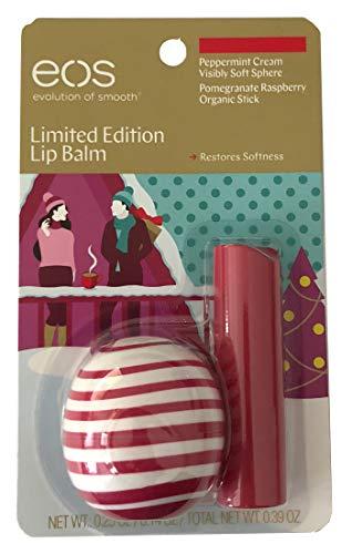 EOS Limited Edition Peppermint Cream Lip Balm Sphere with Bonus Pomegranate Raspberry Organic Lip Balm Stick