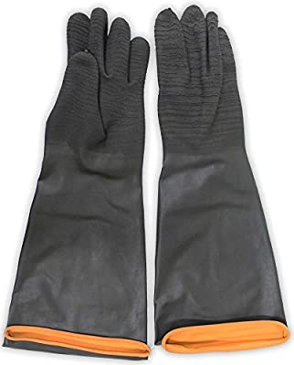 """ToolUSA 18"""" Extra Large Black Natural Rubber Gloves With Crinkle Finish And Rolled Cuff: GL-09918-Z03 : ( Pack of 2 Pairs )"""