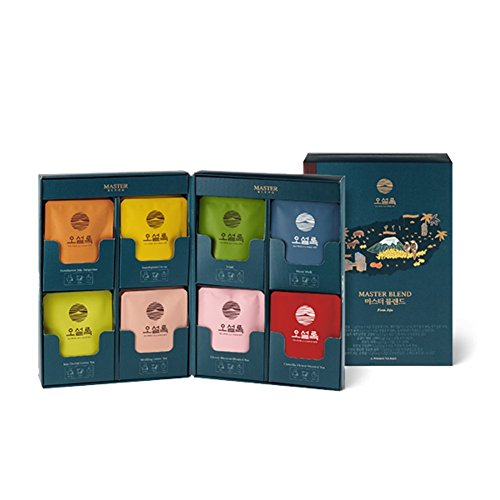 (Osulloc Master Blend Collection Blended Organic Green Tea for Gift (Sejak, Tangerine, Yuja, Moon Walk, Camellia Flower, Cherry Blossom, Wedding, Jeju Orchid) (8 Product X 4EA))