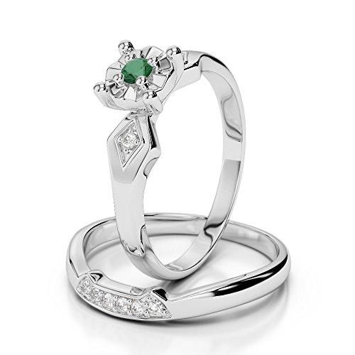 Or blanc 18carats 0,10ct G-H/VS sertie de diamants ronds découpé Émeraude et de mariage Bague de fiançailles et ensemble de Agdr-1058