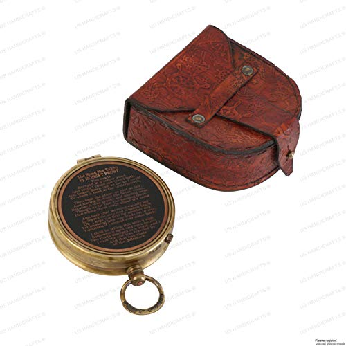US HANDICRAFTS Handmade Compass The Road Not Taken Magnetic Compass Marine Antique Replica Vintage Gift Compass from US HANDICRAFTS