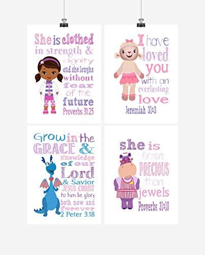 Doc McStuffins Inspirational Nursery Decor Set of 4 Prints - Dr. McStuffins, Hallie, Lambie and Stuffy -