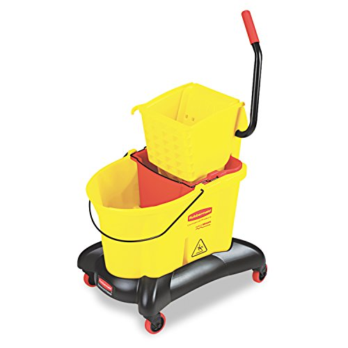 Yellow Mop Bucket (Rubbermaid Commercial WaveBrake Dual Water Mop Bucket and Side Press Wringer Combo, 35-Quart, Yellow, FG768000YEL)