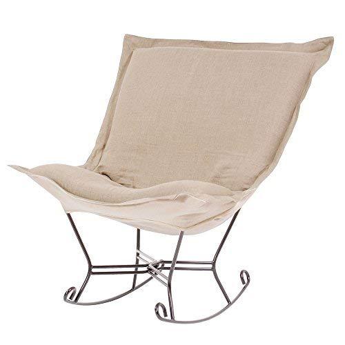 Howard Elliott 600-610 Scroll Puff Rocker with Titanium Frame, Prairie Linen - Rocker Puff Chair