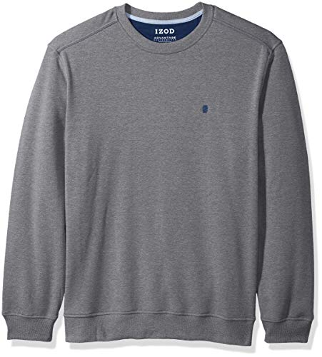 IZOD Men's Advantage Performance Crewneck Fleece Sweatshirt, Charcoal Grey, Large