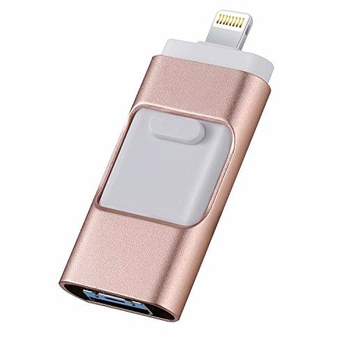 iOS USB Flash Drives for iphone 128GB [3-in-1] Lightning OTG Jump Drive, BQYPOWER External Micro USB Memory Storage Pen Drive, Encrypted Flash Memory Stick for iPhone, iPad, Android and PC (Pink) by BQYPOWER