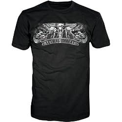 Lethal Threat (LT20213M) Men's Biker Skull Short Sleeve Shirt (Black, Medium)