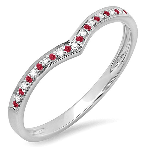- Dazzlingrock Collection 14K White Gold Round Ruby & White Diamond Ladies Wedding Stackable Band (Size 8)
