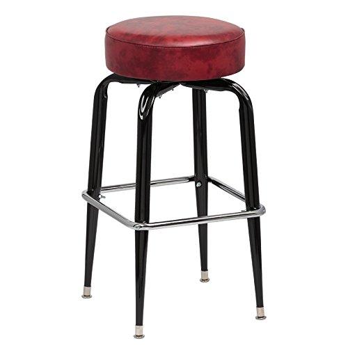 (Royal Industries Backless Square Black Frame Crimson Vinyl Bar Stool With Single Chrome Ring)