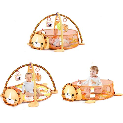 BABY JOY Cute Lion Theme Baby Play Gym Mat, 3 in 1 Baby Cognitive Exploration Activity Mat with Removable Toys Bars Walls, 4-Piece Hanging Toys 30-Piece Ball Pit 19.5 in