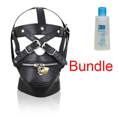 Lockable Black Gimp Hood Zipper Mouth Sensory Deprivation Mask Costume AND Personal Lubricant 5 oz - Cumming Women Faces Of