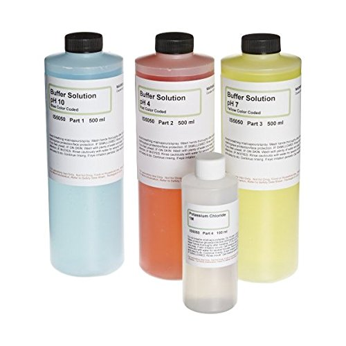 IS Extra Large pH Buffer Calibration Kit - 16.9 Ounce each pH 4, 7, 10 and 4 Ounce Potassium Chloride - Curated Chemical Collection by Innovating Science