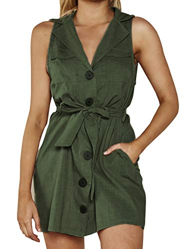 Sleeveless Belted Shirt Dress - Conmoto Women's Elegant Sleeveless Linen Dress Button Down Tie Waist Mini Dress with Pockets Green 10
